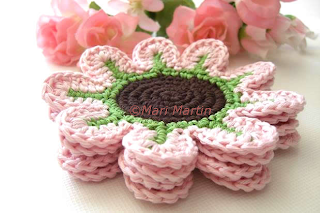 Crochet Flower Rose Coasters