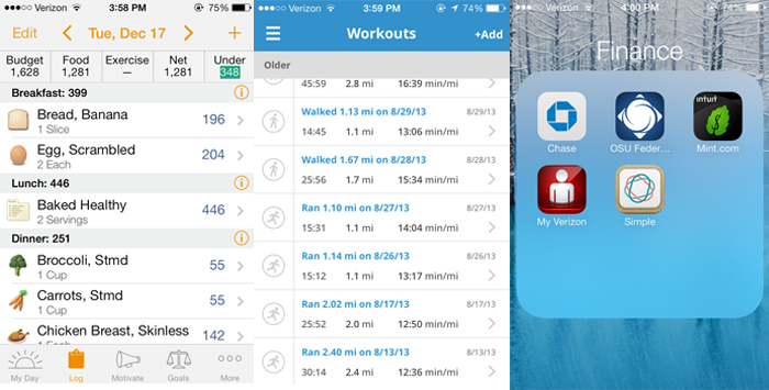 iPhone screenshots of Lose It!, MapMyRun, banking apps
