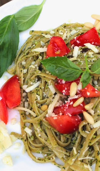 Linguine with pesto topped with fresh tomatoes. Cooking Chat recipe.