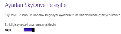 Windows 8.1 SkyDrive Eşitleme