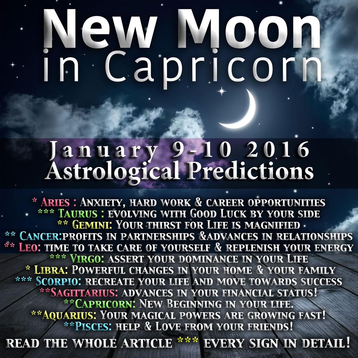 New Moon on 10 January 2016 Sunday - lunaf.com