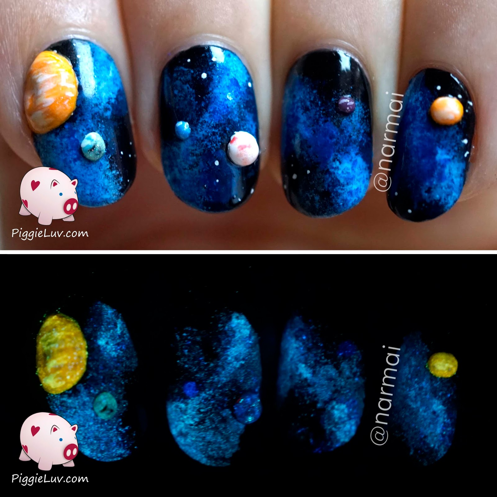 PiggieLuv: 3D galaxy nail art (glow in the dark)