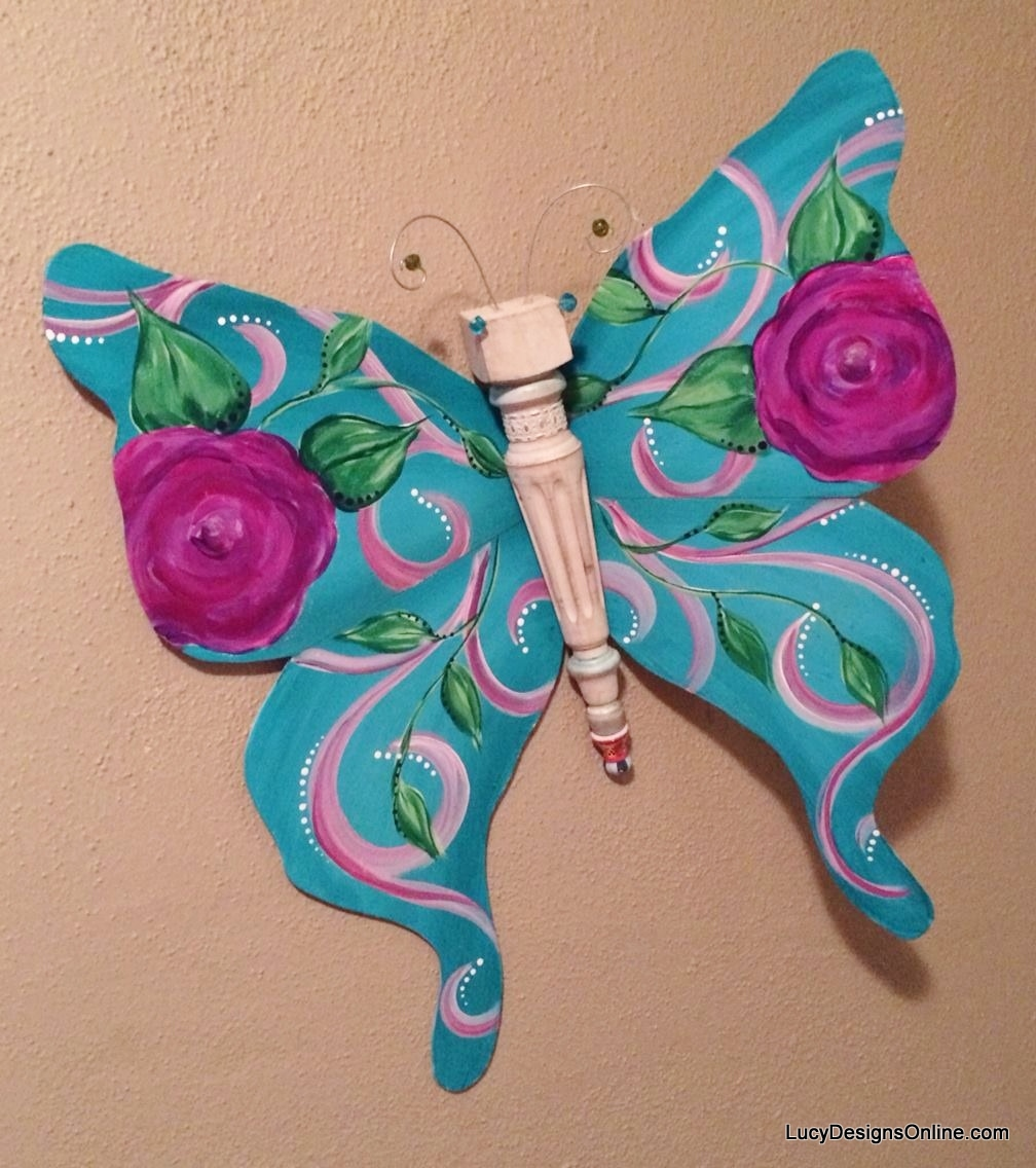 hand painted recycled chair leg butterfly art
