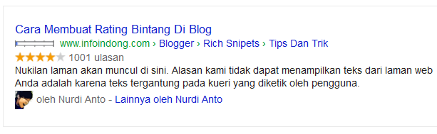 Rating bintang rich snipets aggregate rating