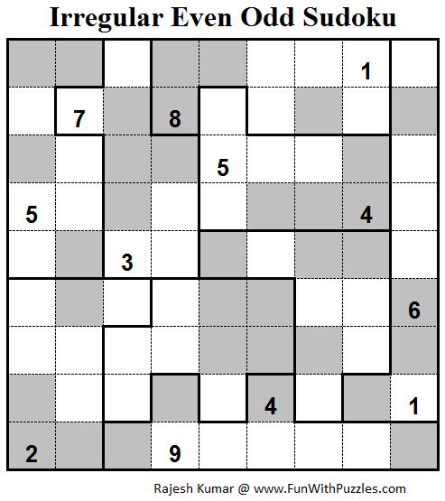 Irregular Even Odd Sudoku (Fun With Sudoku #81)