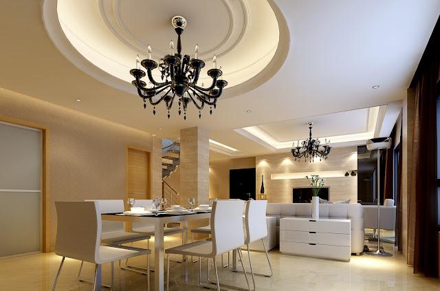 Mẫu trần thạch cao phòng ăn chung cư hiện đại