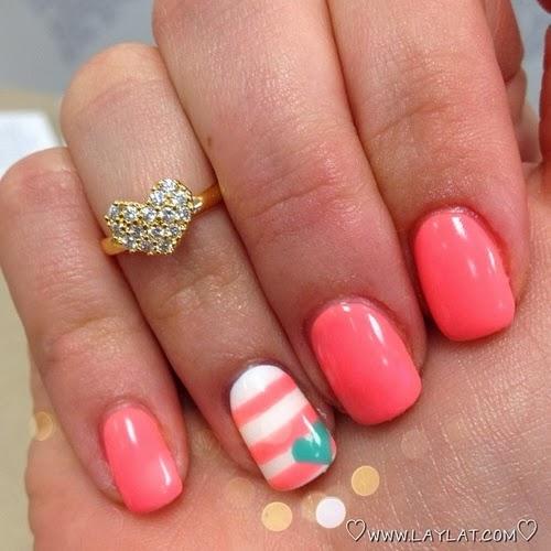 Coral Color Nail Designs: Excellent Acrylic Nail Art Designs