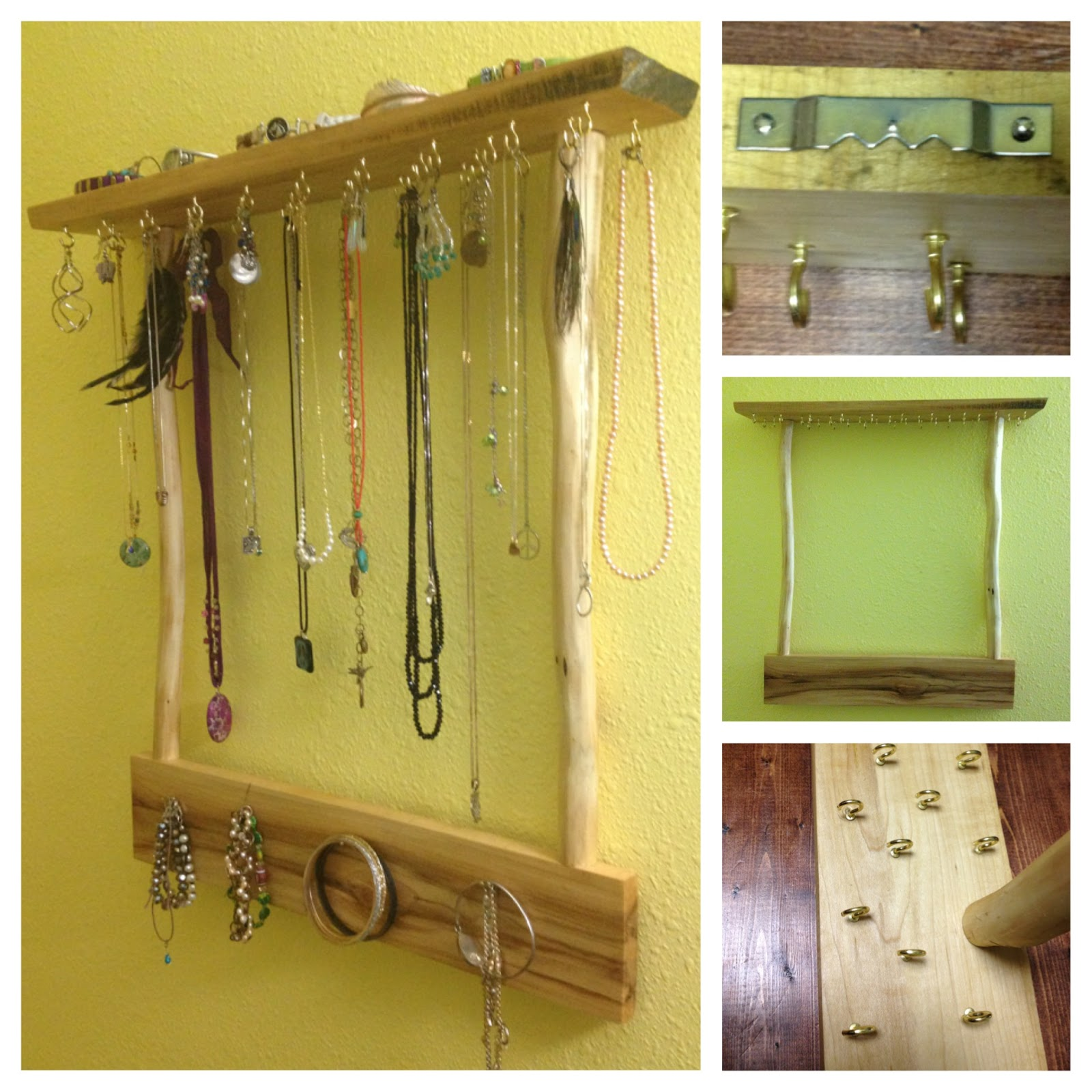 big woodworking idea: DIY Wall Hanging Jewelry Display
