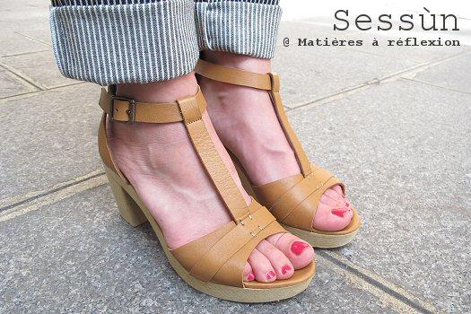 Sessun chaussures sabots sandales cuir semelle rigide Woodson