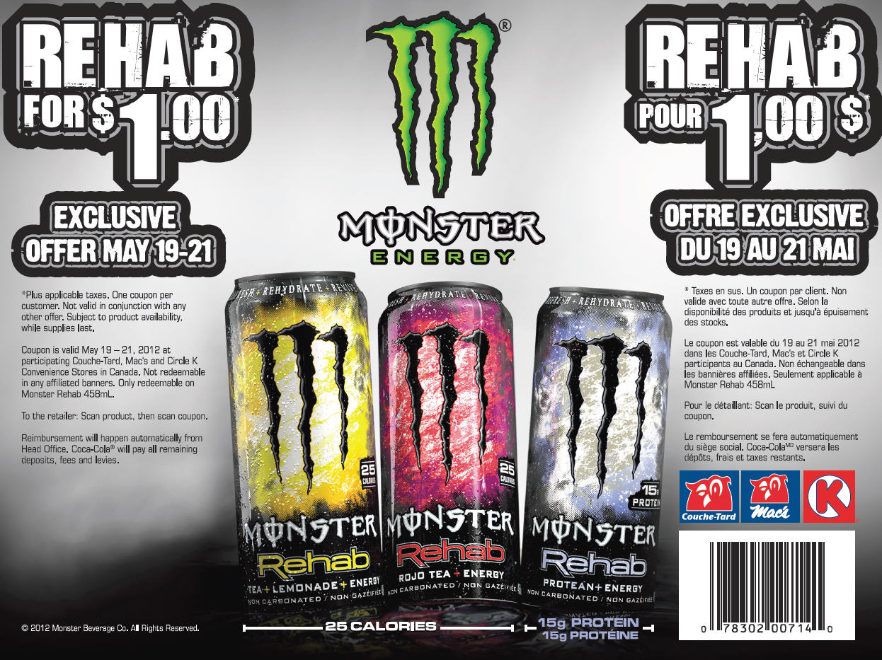 Monster Rehab Energy Drink Coupons