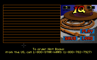 Indiana Jones and the Last Crusade DOS save load screen