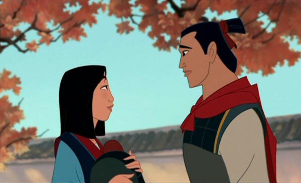 Shang returning her helmet to her at her house Mulan Shang Training