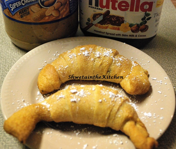 Shweta in the Kitchen: Nutella & Peanut Butter Croissant
