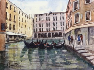 Gondola,Venice, Italy Seascapes Watercolor Painting on paper Popular Classic Postcard or Pochade size 6 x 8 inches or 15 x 20 cm