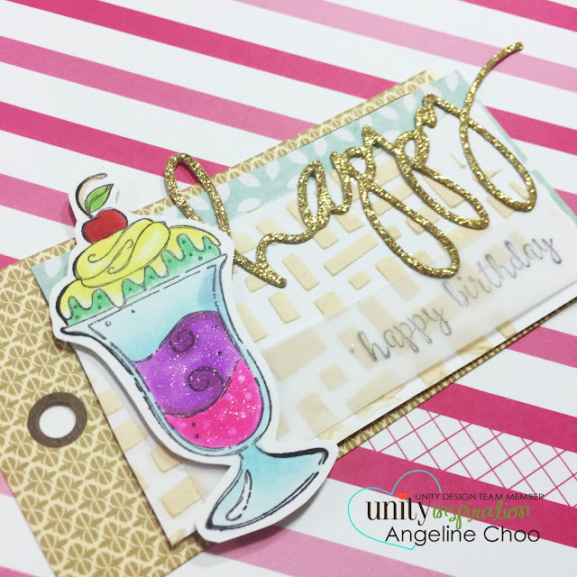ScrappyScrappy: Happy Birthday #scrappyscrappy #unitystampco #card #tag #heidiswapp #copic #diecut #winkofstella