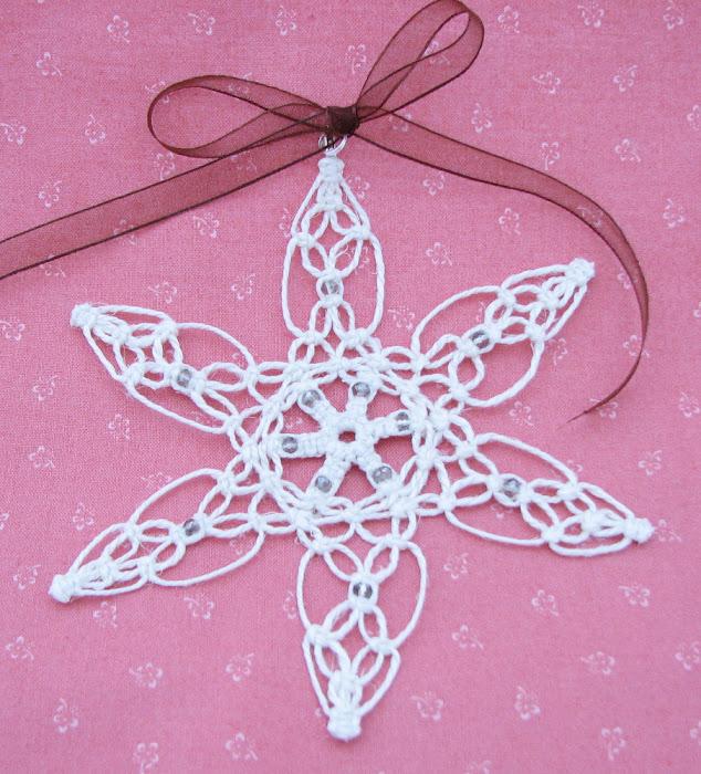 Makrama - Boże Narodzenie - śnieżynki - 5
