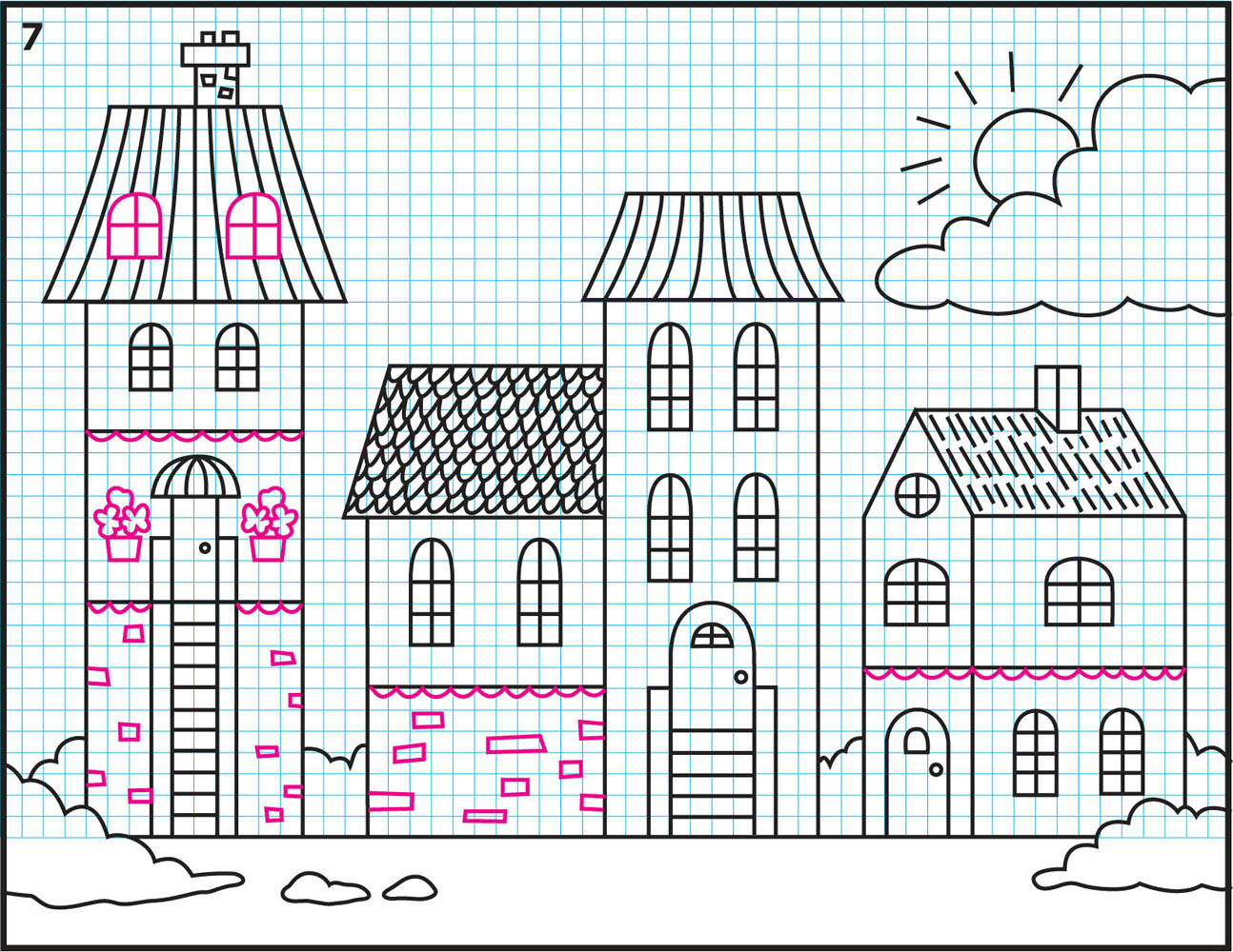 How to draw small town for How to draw flo