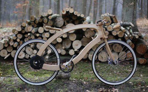 E-Bike bicicleta elétrica feita de madeira