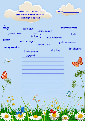 English for kids worksheet, spring