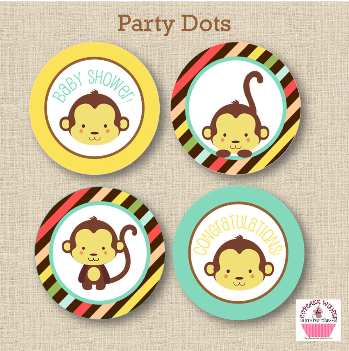 shop new item little monkey themed baby shower instant download