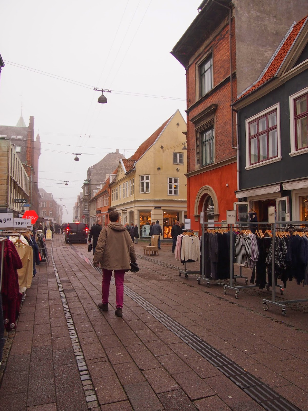 colorful and crowded streets of Helsingor, Denmark