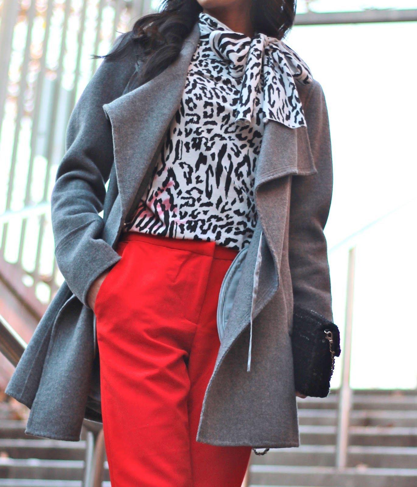 red and grey outfit black printed top