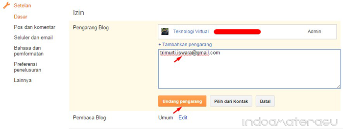 Inivit email blogger baru