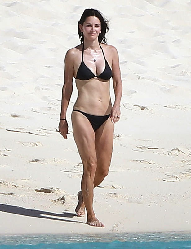 One look at Courteney Cox in that tiny black two-piece
