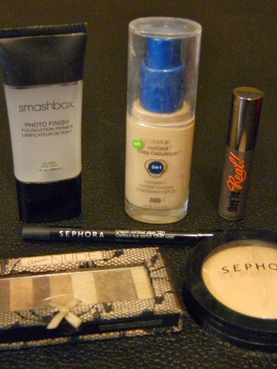 Smashbox Photo Finish Foundation Primer, CoverGirl Ourlast Stay Fabulous 3-in-1 foundation in 805 ivory, Sephora MicroSmooth powder in 05 light, Physicians Formula Shimmer Strips eyeshadow palette in classic nude, Sephora 12HR eyeliner in 01 black lace, Benefit They're Real! mascara