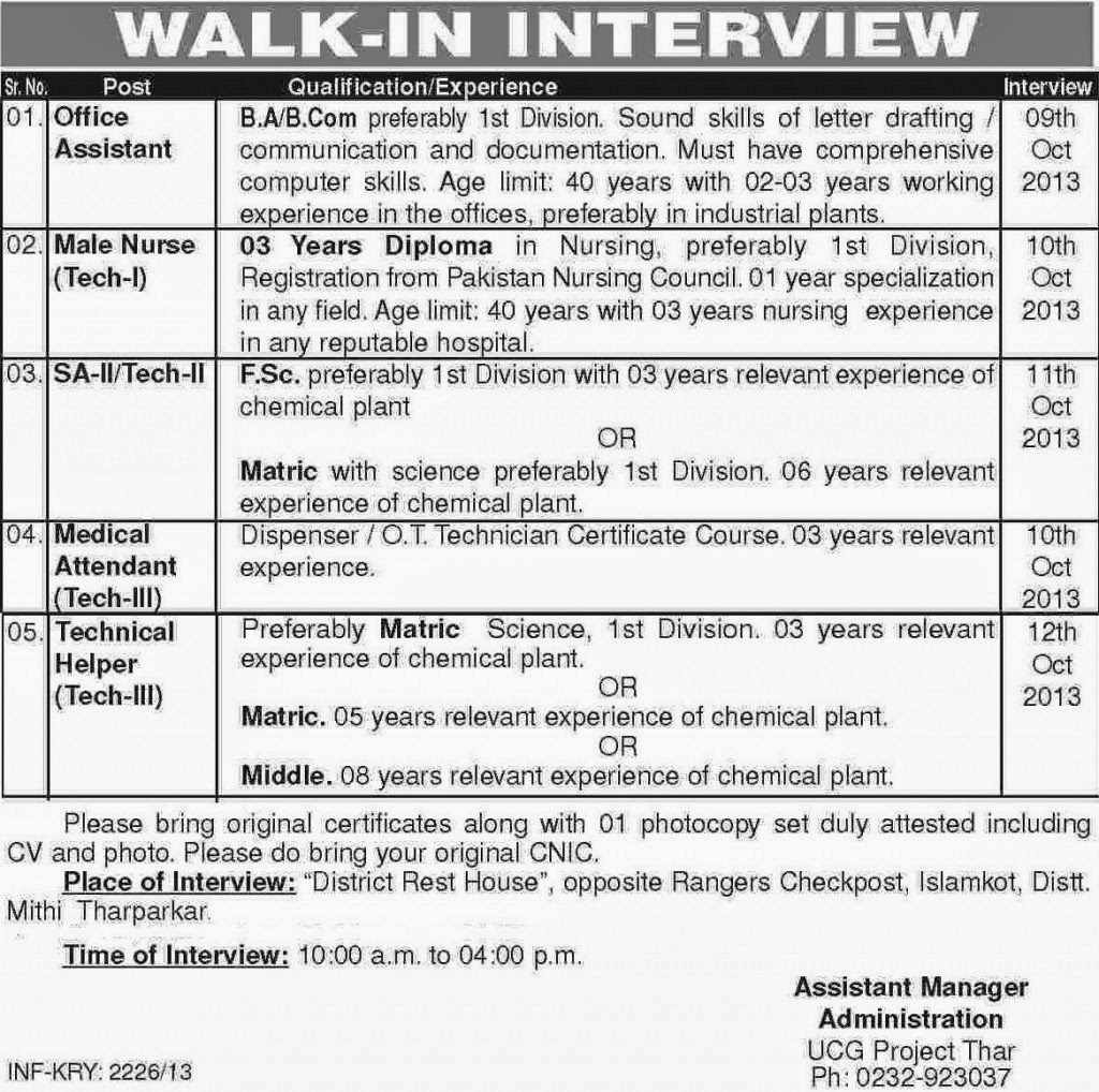 Medical, Technical and Assistant Jobs in Tharparkar, Sindh