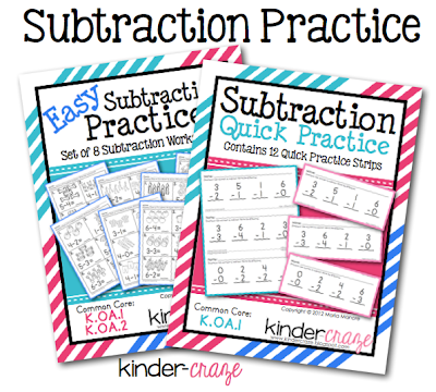 Subtraction Practice Pages, $