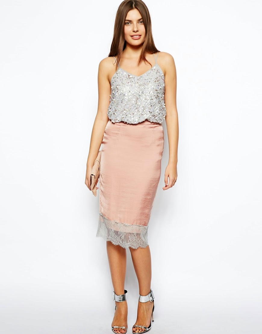 blush lace skirt