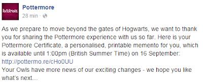 Pottermore Facebook del 3 settembre 2015
