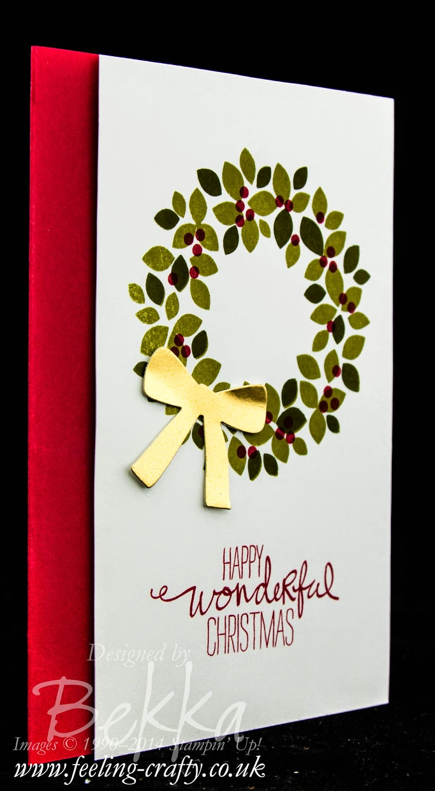 Wondrous Wreath Christmas Card by Stampin' Up! UK Independent Demonstrator Bekka - check this blog for lots of ideas using this stamp set.