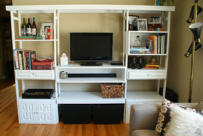 DIY Revamped Entertainment Wall Unit