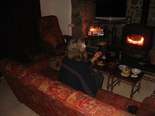 Celebrating Earth Hour by candlelight with Spanish wine and olives, Llangybi-style!