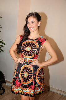 Elli Avram in beautiful Printed Sleeveless Mini Dress at Zoya Store Launch Mumbai