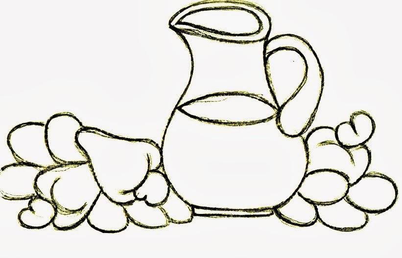jarra de suco de caju para pintar em semaninha de panos de copa