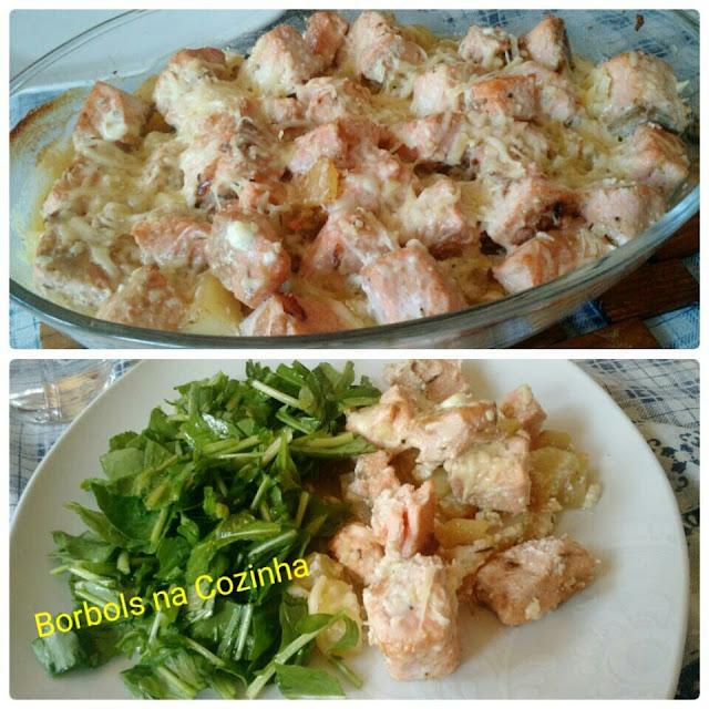 Salmão Gratinado com batatas e creme de ricota - Low Carb