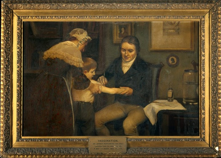 Dr Jenner performing his first vaccination on James Phipps, a boy of age 8. May 14th, 1796 by Ernest Board, 1910