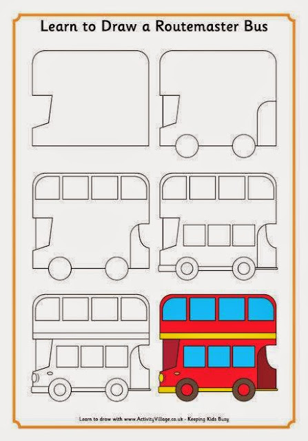 Cara menggambar bus sekolah bagi anak anak