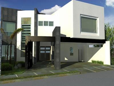 Fachadas contempor neas hermosa residencia con fachada for Fachadas minimalistas con balcon