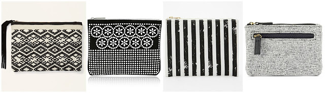 One of these black and white pouches is from Tabitha Simmons for $495 and the other three are under $25. Can you guess which one is the designer pouch? Click the links below to see if you are correct!