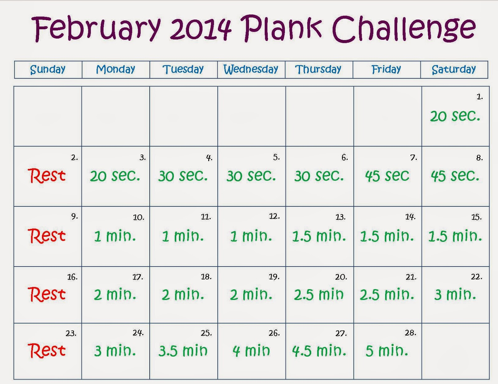 Plank Challenge May 2013 January's challenge brought us