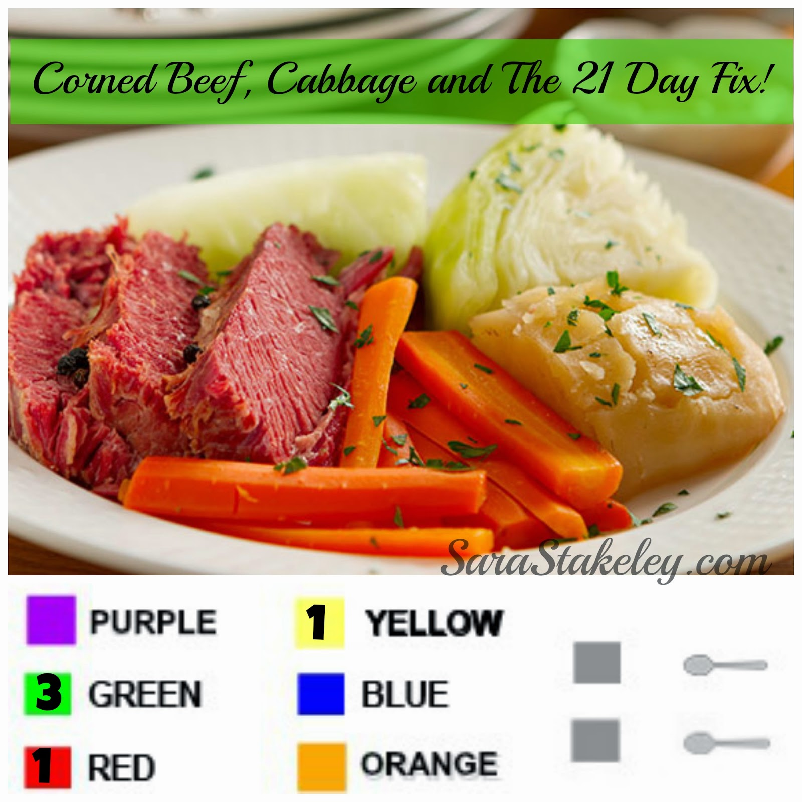 Corned Beef, Cabbage and The 21 Day Fix, Sarastakeley.com, Sara Stakeley, Irish dinner, 21 day day fix dinner, Eat clean St. Patrick's Day,