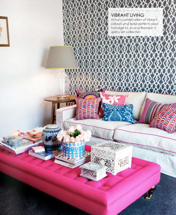 Navy blue rooms b a s blog for Pink living room wallpaper