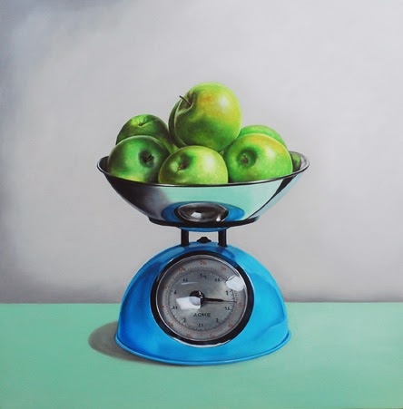 apple still life, realism, fruit painting, scale painting