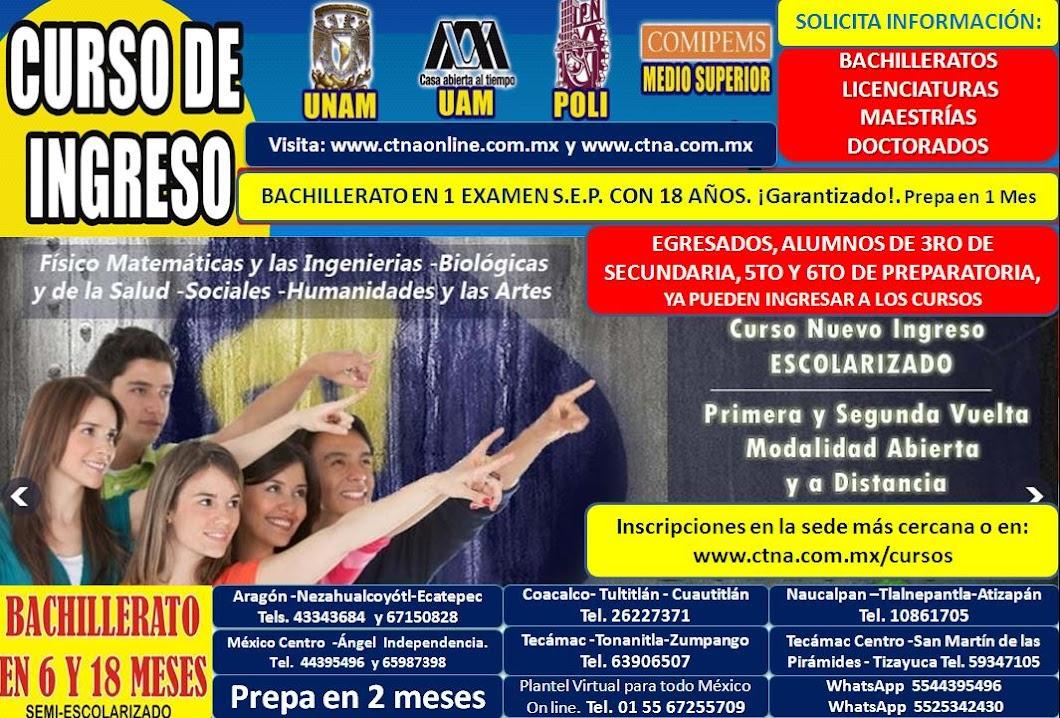 Curso Unam 2017, Curso Comipems 2017, Cursos preparación IPN 2017, UNAM, UAM, Prepas, Bachilleratos