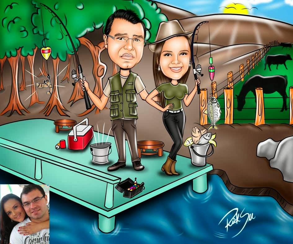 casal pescando em plataforma em rio