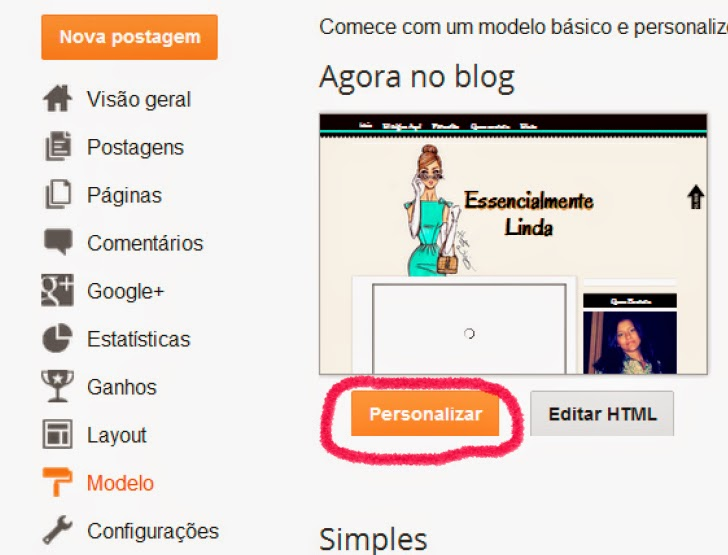 como aumentar foto do perfil do blog